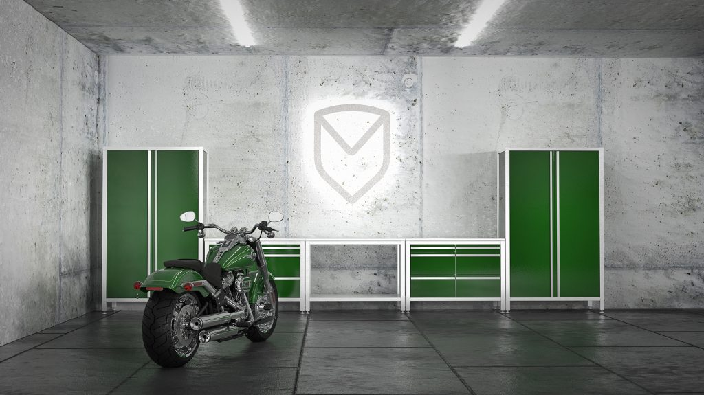 Werkstatt Motorrad_ MASCAN Edelstahlmodule in grün