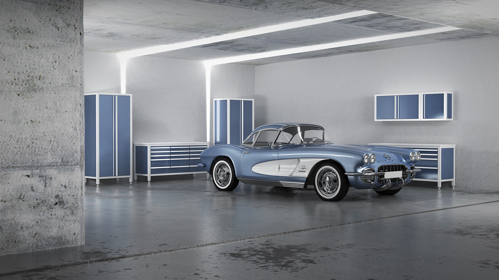 Luxusgarage mit Oldtimer - Oldtimergarage - blau