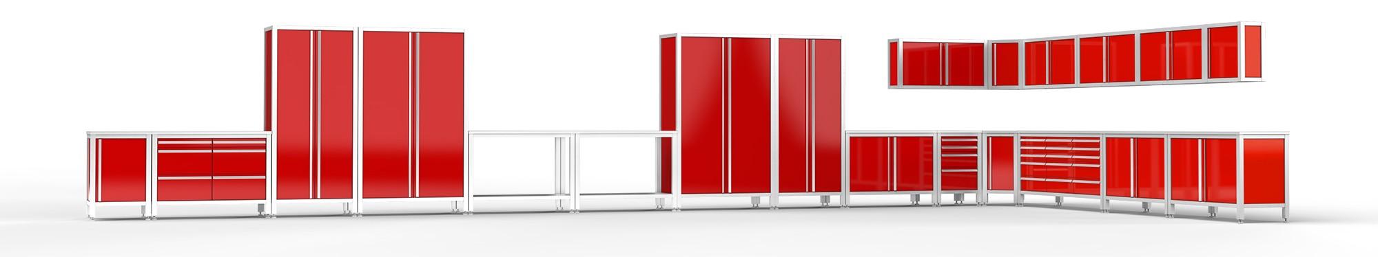 Raum Werktstatt - Garageneinrichtung - Edelstahlmodule von MASCEN in rot