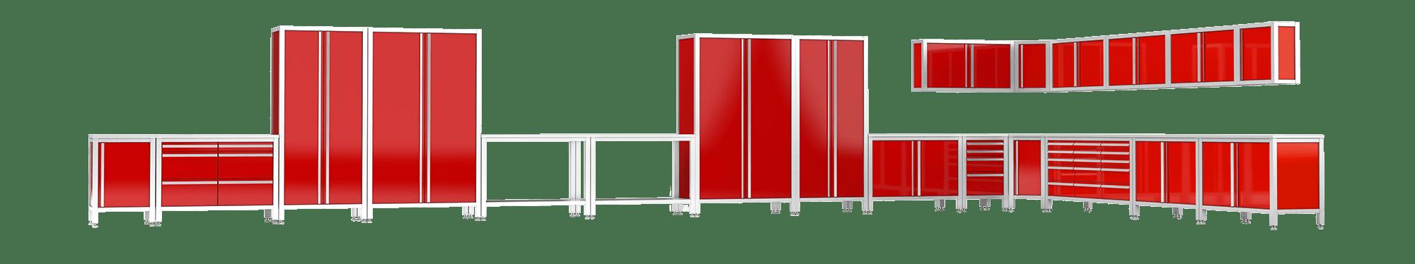 Garageneinrichtung für Luxusgarage - MASCAN Edelstahlmodule in rot