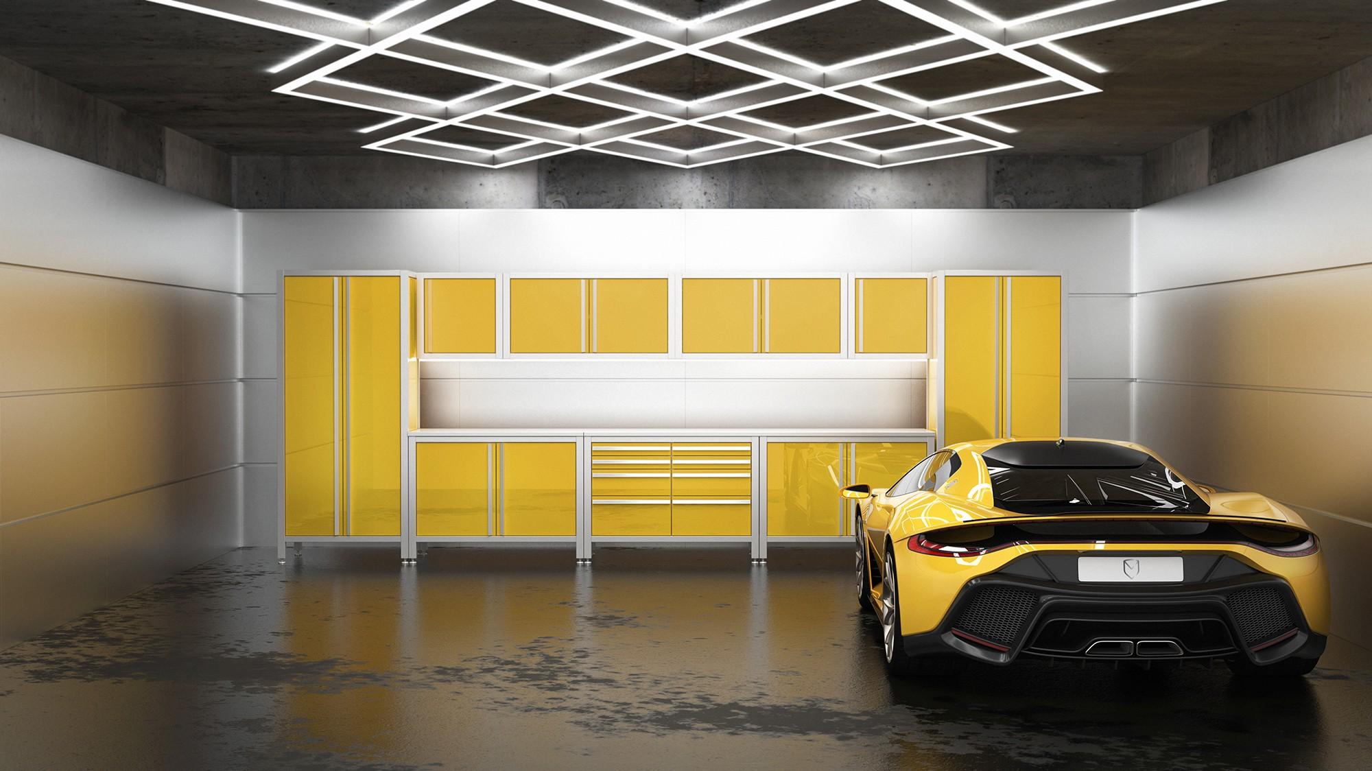 Luxusgarage für Sportwagen - Sportwagengarage - Werkstatt mit MASCAN Edelstahlmodulen in gelb